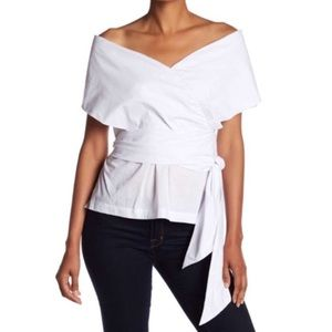 Alton Gray Wrap Around Off The Shoulder Blouse